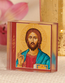 Byzantine Christ Acrylic Glass Desktop Icon