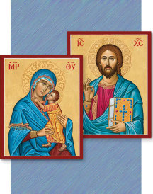 Discounted Icon Pair - Byzantine Christ and Blue Madonna Icon