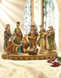 Carved Style Folk Art Nativity