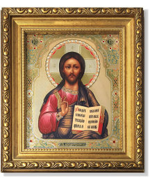 Christ Pantocrator icon Gold-Framed Icon with Crystals