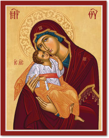 Cretan-Style Virgin of Tenderness Icon