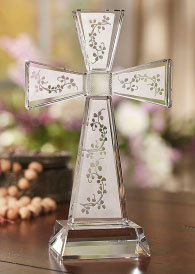 ON SALE Crystal Shamrock Cross