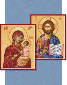 Discounted pair: Christ the Teacher & Virgin and Child - two 4.5