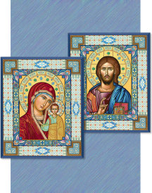 Discounted icon pair—Ornamental Christ & Virgin Mary - two 4.5