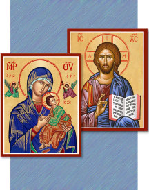 Discounted pair: Christ the Teacher & Our Lady of Perpetual Help - two 8