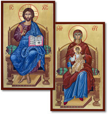 Discounted Pair: Christ Enthroned & Virgin Enthroned icons