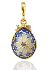 Enameled Egg Pendant with Flower