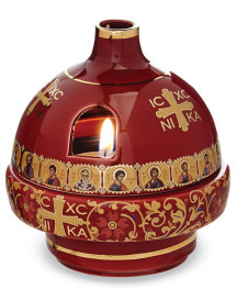Greek Ceramic Votive Lamp, Red