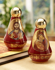 Greek Red Ceramic Holy Water Bottle