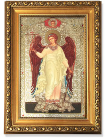 Guardian Angel Gold-Framed Icon with Crystals