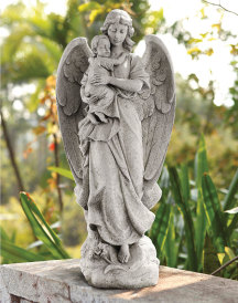 Guardian Angel Statue with infant