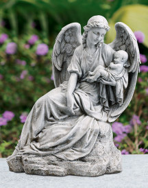 Guardian Angel with Child Infant Figurine