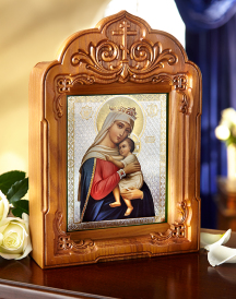 Hand Carved Icon Shrine Arched Style