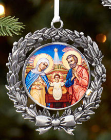 Holy Family Pewter Ornament