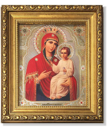 Holy Virgin the Deliverer icon Gold-Framed Icon with Crystals