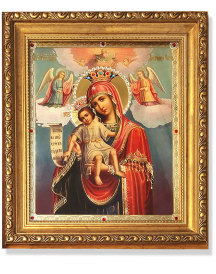 It is Truly Meet and Right Gold-Framed Icon with Crystals