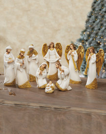 Ivory and Gold Nativity Set