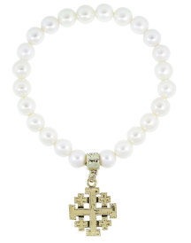 Jerusalem Cross Pearl Stretch Bracelet