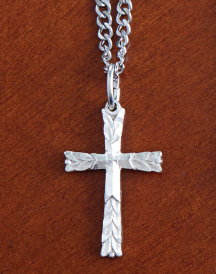 Leaf Style Sterling Silver Cross