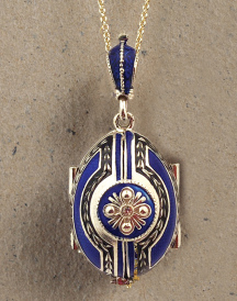 Madonna & Angels Locket Pendant - Blue