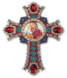 Madonna & Child Jewelled Cross