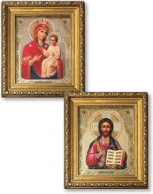 Matching Pair of Christ and Madonna Gold-Framed Icons with Crystals