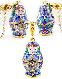 NEW Matryoshka Enamel Russian Doll Pendant