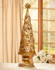 Metallic Nativity Tree Figurine