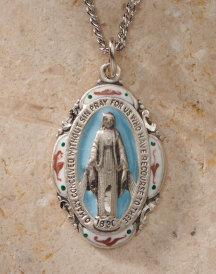 Miraculous Medal enamelled silver