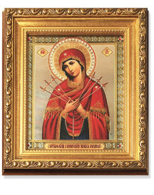 Mother of Sorrows Gold Framed Icon with Crystals