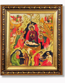 Nativity of Christ Gold Framed Icon with Crystals
