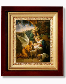 Nativity Scene Framed Icon with Crystals