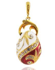 White and Red Faberge Style Egg Pendant