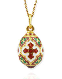 Ornate Egg Pendant with Cross
