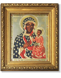Our Lady of Czestochowa Gold-Framed Icon with Crystals