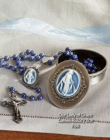 Our Lady of Grace Cameo Rosary Box