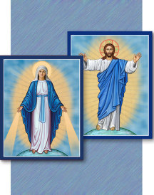 Discounted Icon Pair - Christ the Light and Our Lady of Grace - 8