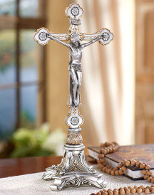 Pewter Style Altar Crucifix