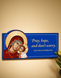 Pray Hope Dont Worry Inspirational Wall Plaque