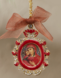 Red Oval Icon Ornament
