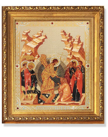 Resurrection of Christ Gold Framed Icon with Crystals