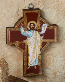 Risen Christ Golden Line Wall Cross