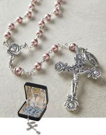 Rose Pearl Rosary - Pink