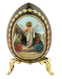 Russian Wooden Icon Egg, medium