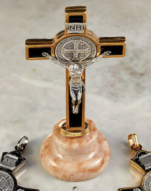 St. Benedict Cross on Marble Stand