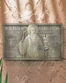 Saint Benedict plaque - wide