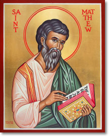 "Saint Matthew the Apostle original icon 14"" tall"