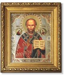 Saint Nicholas Gold-Framed Icon with Crystals
