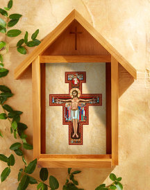 San Damiano Cross Indoor-Outdoor Cedar Shrine