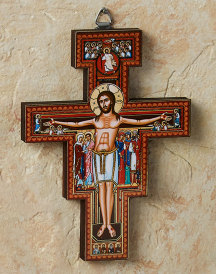 San Damiano Golden Line Wall Crucifix